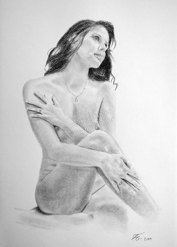 Bleistiftzeichnungen, Aktzeichnungen, Aktzeichnung vom Foto, Bleistiftzeichnung Frauen Aktbilder, Aktzeichnung mit Bleistift