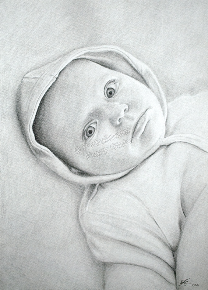 Bleistiftzeichnung, Portraitzeichnung Baby, Bleistiftzeichnungen Baby-Portrait - Babyzeichnung, Babyportrait
