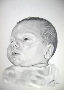 Bleistiftzeichnung, Baby Portraitzeichnung, Bleistiftzeichnungen Baby-Portrait  - Baby Zeichnung, Babyportrait