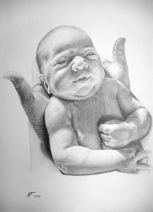 Kohlezeichnung, Portraitzeichnung - Baby, Kohlezeichnungen Baby-Portrait - Baby Zeichnung, Babyportrait