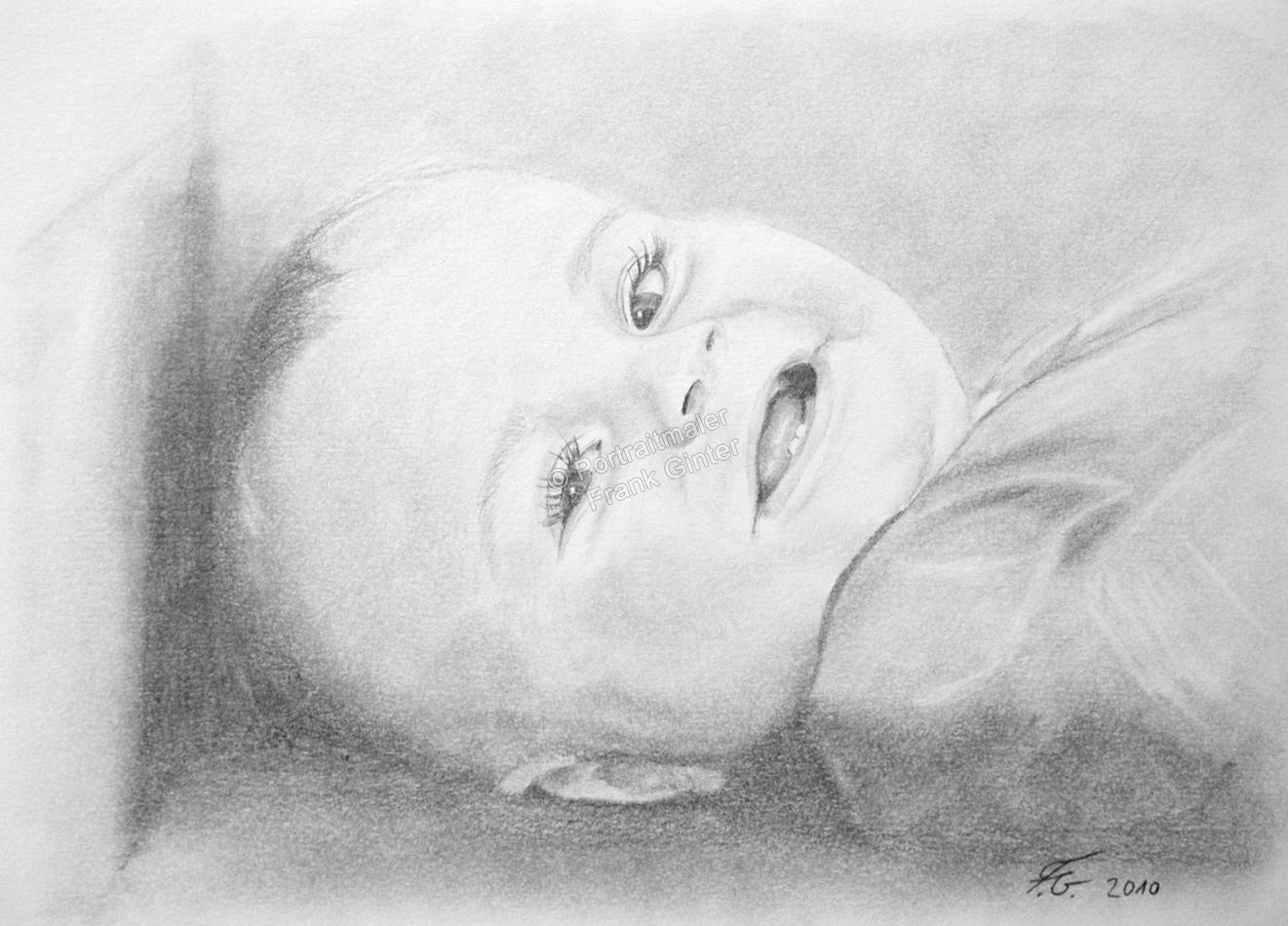 Bleistiftzeichnung Baby, Portraitzeichnung - Baby Zeichnung, Babyportrait, Bleistiftzeichnungen Baby-Portrait