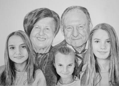 Kohlezeichnungen, Portraitzeichnung, Portrait zeichnen lassen, Familienportrait, Großvater, Großmutter und Enkel, Familienportraits