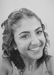 Kohlezeichnungen, Portraitzeichnung, Kohlezeichnung einer Frau, Kohle-Bleistift-Portraits, Portraitzeichnungen mit Kohle