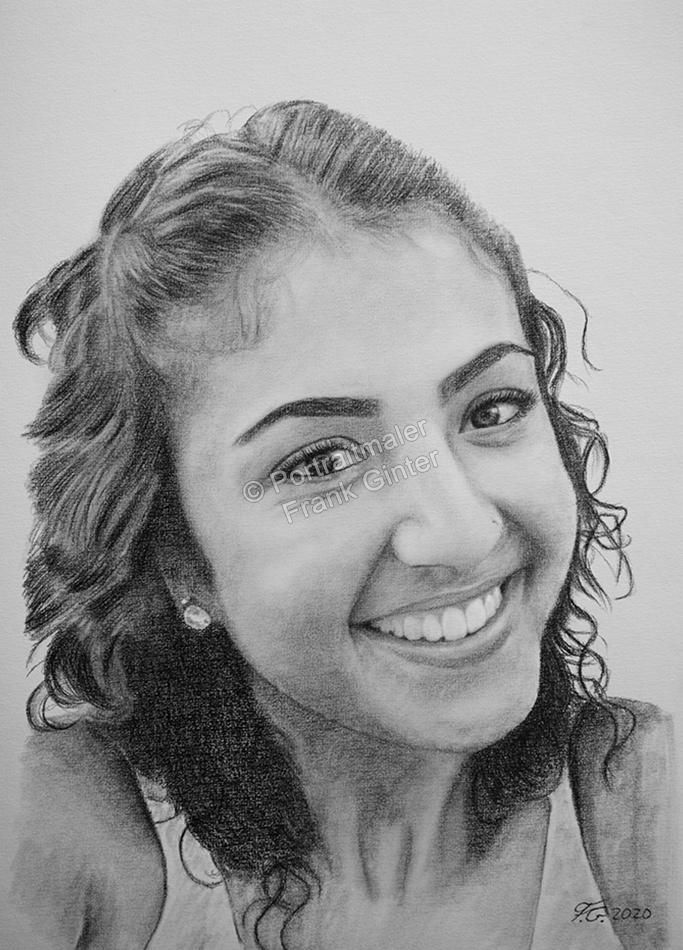 Bleistiftzeichnung, Portraitzeichnung, Bleistiftzeichnung junge Frau, Bleistift-Portraits, Frau Portraitzeichnungen mit Bleistift