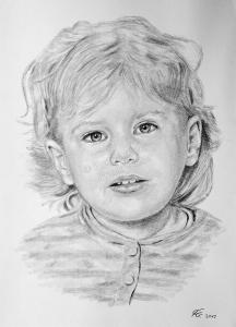 Bleistiftzeichnungen, Portraitzeichnung - Mädchen, Bleistiftzeichnung, Kinder-Portraits