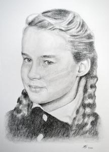 Bleistiftzeichnungen, Portraitzeichnungen, Mädchen Portraits zeichnen lassen Mädchen-Portrait