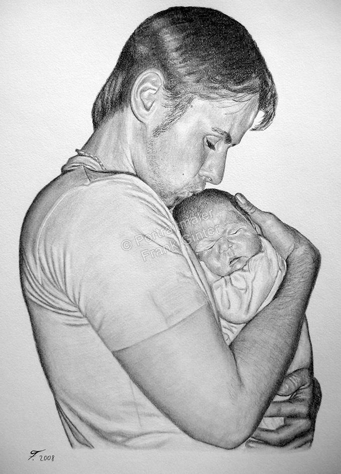 Bleistiftzeichnung, Portraitzeichnung - Vater mit seinem Baby, Bleistiftzeichnungen, Baby-Portrait mit Papa, Bleistift