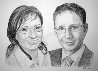Bleistiftzeichnung, Portraitzeichnung - Menschen, Bleistiftzeichnungen von Bruder und Schwester, Bleistift Portraits, Portraitzeichnungen