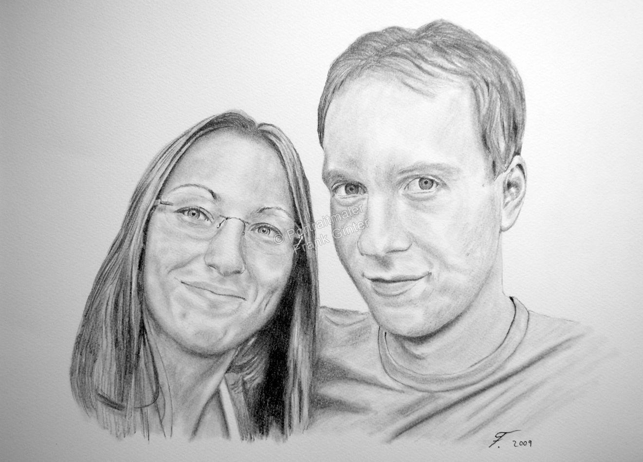 Bleistiftzeichnung, Portraitzeichnung - Menschen, Bleistiftzeichnungen von Liebenden, Bleistift Portraits, Portraitzeichnungen