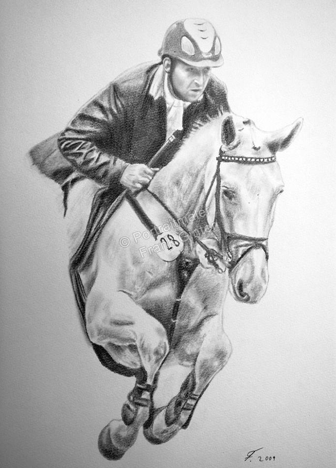 Kohlezeichnungen, Tierportraits, Pferde Kohlezeichnung, Tierzeichnungen Pferdeportrait Pferd mit Reiter als Kohlezeichnung
