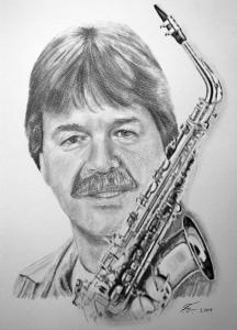 Bleistiftzeichnungen, Portraitzeichnung  Mann, Portrait zeichnen lassen, Portrait vom Foto mit Bleistift, Bleistiftzeichnung Saxophone