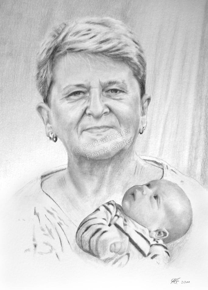 Bleistiftzeichnungen, Portraitzeichnung  Grossmutter und Baby, Portrait zeichnen lassen, Portrait vom Foto mit Bleistift, Bleistiftzeichnung