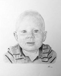 Kohlezeichnung Baby, Portraitzeichnung - Babyzeichnung, Babyportrait, Kohlezeichnungen Baby-Portrait