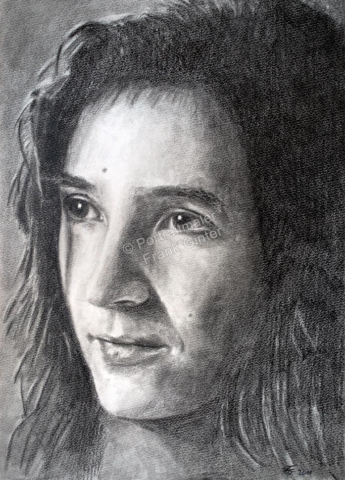 Kohlezeichnungen, Portraitzeichnung Frau, Kohlezeichnung, Portraitzeichner