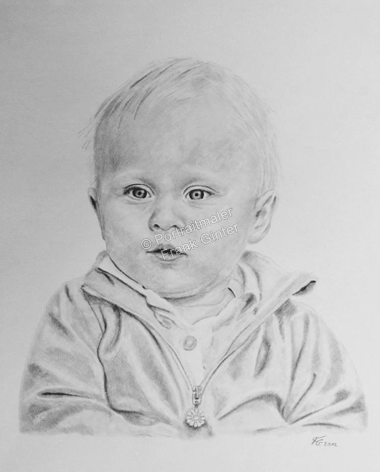 Kohlezeichnungen Portraitzeichnung Baby-Portrait zeichnen lassen