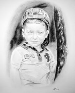 Kohlezeichnungen, Portraitzeichnung, Kinder Portrait zeichnen lassen von einem Jungen