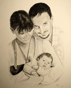 Kohlezeichnungen, Portraitzeichnung, Portrait zeichnen lassen, Familienportrait, Mann mit Frau und Baby, Familienportraits