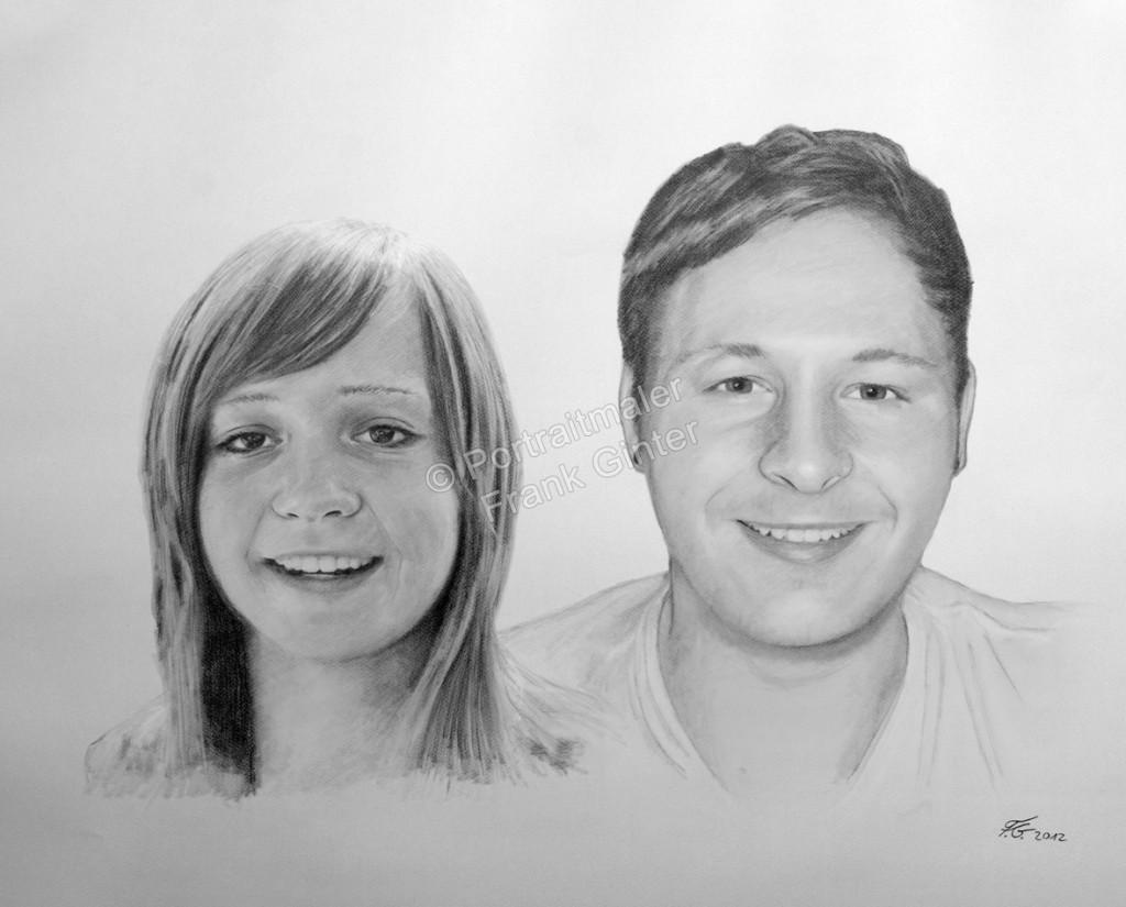 Kohlezeichnungen, Portraitzeichnung, Portrait zeichnen lassen, Mann und Frau Paarzeichnung Paarportrait