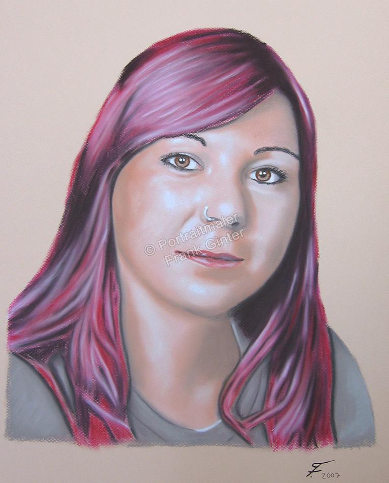 Handgemalte Bilder, Portraitmalerei, Bilder malen lassen, Portraitmaler, Pastellgemälde Frau mit Piercing, Pastellmalerei