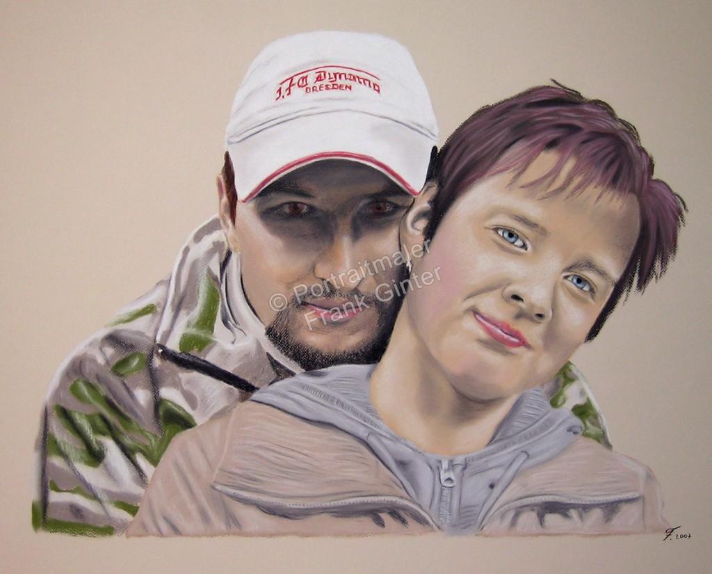 Handgemalte Bilder, Portraitmalerei, Bilder malen lassen, Portraitmaler, Pastellgemälde Mann und Frau, Pastellmalerei Paarportrait