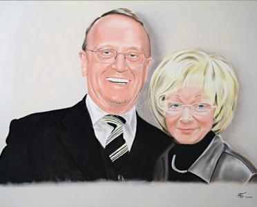 Handgemalte Bilder, Portraitmalerei, Bilder malen lassen, Portraitmaler, Pastellgemälde Silberhochzeit, Pastellmalerei Paare