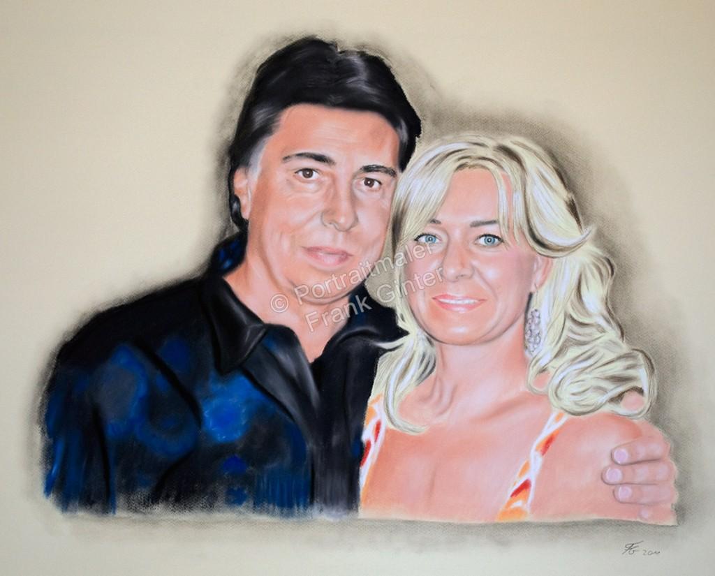 Gemalte Bilder, Pastellbilder, Porträtmalerei, Paarportrait, Portrait malen lassen, portraitieren, Portrait vom Foto
