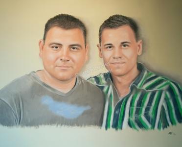 Handgemalte Bilder, Portraitmalerei, Bilder malen lassen, Portraitmaler, Pastellgemälde zwei Brüder, Pastellmalerei, Geschwister-Gemälde