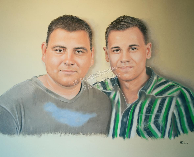 Gemalte Bilder, Pastellbilder, Porträtmalerei, Geschwister, Portrait malen lassen, portraitieren, Portrait vom Foto, zwei Brüder