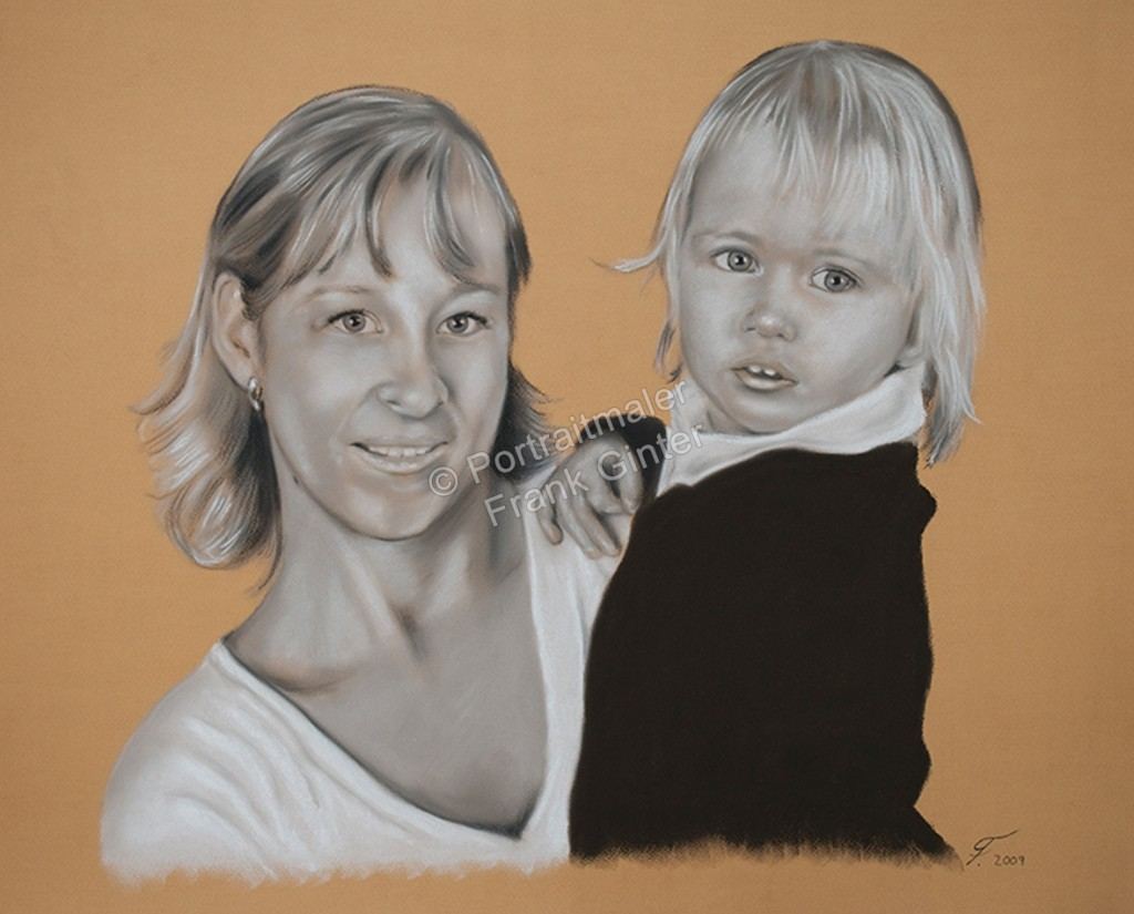Handgemalte Bilder, Portraitmalerei, Bilder malen lassen, Portraitmaler, Pastellgemälde Familie, Pastellmalerei Frau und Kind, Familienportrait