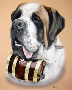 Handgemalte Bilder, Tiermalerei, Bilder malen lassen, Tiermaler, Hunde, Tierportraits, Hundeportrait, Hundegemälde Bernhardiner