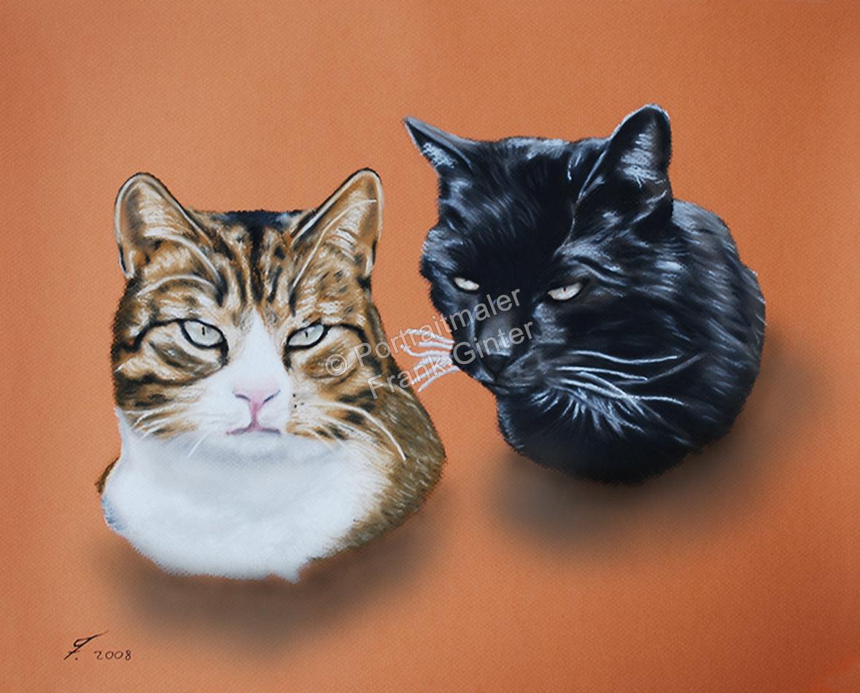 Handgemalte Bilder, Tiermalerei, Bilder malen lassen, Tiermaler, Katzen, Tierportraits, Katzenportrait, Katzengemälde