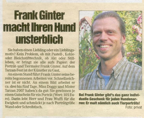 Portraitmaler F. Ginter, Dresdner Morgenpost Künstlerportrait 2007