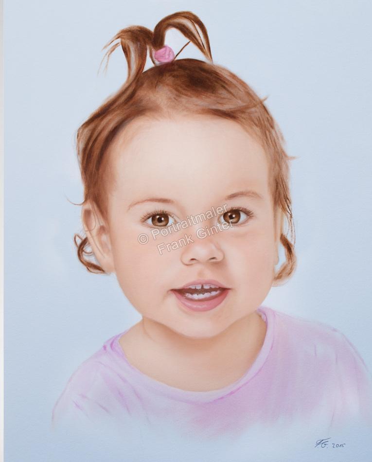 Berlin, Dry Brush Technik, Oelgemaelde Portraitgemälde Kind Mädchen, Ölbild Trockenpinseltechnik