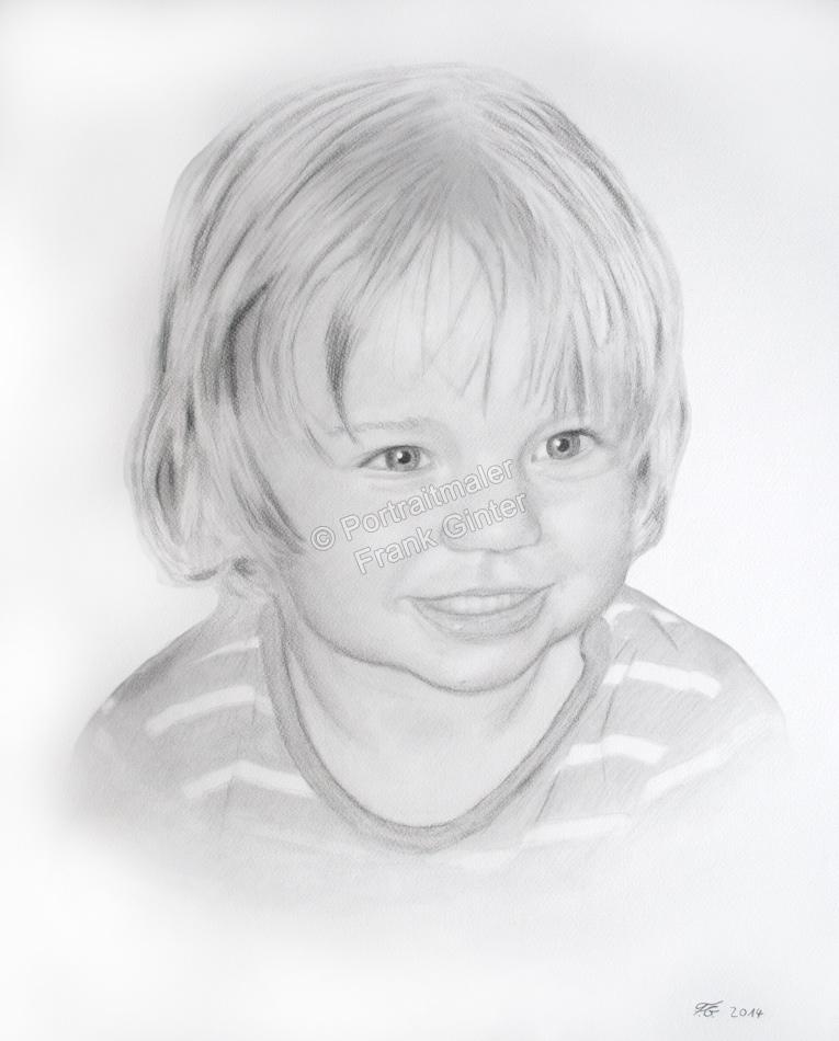 Kohlezeichnungen, Kohlezeichnung, Portraitzeichnung eines Kindes, Kinder-Portraits Mädchen