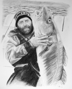 Kohlezeichnungen, Portraitzeichnung Mann, Kohlezeichnung Angler mit Fisch, Portraitzeichnung in Kohle, Kohlezeichnung, Tierzeichnung