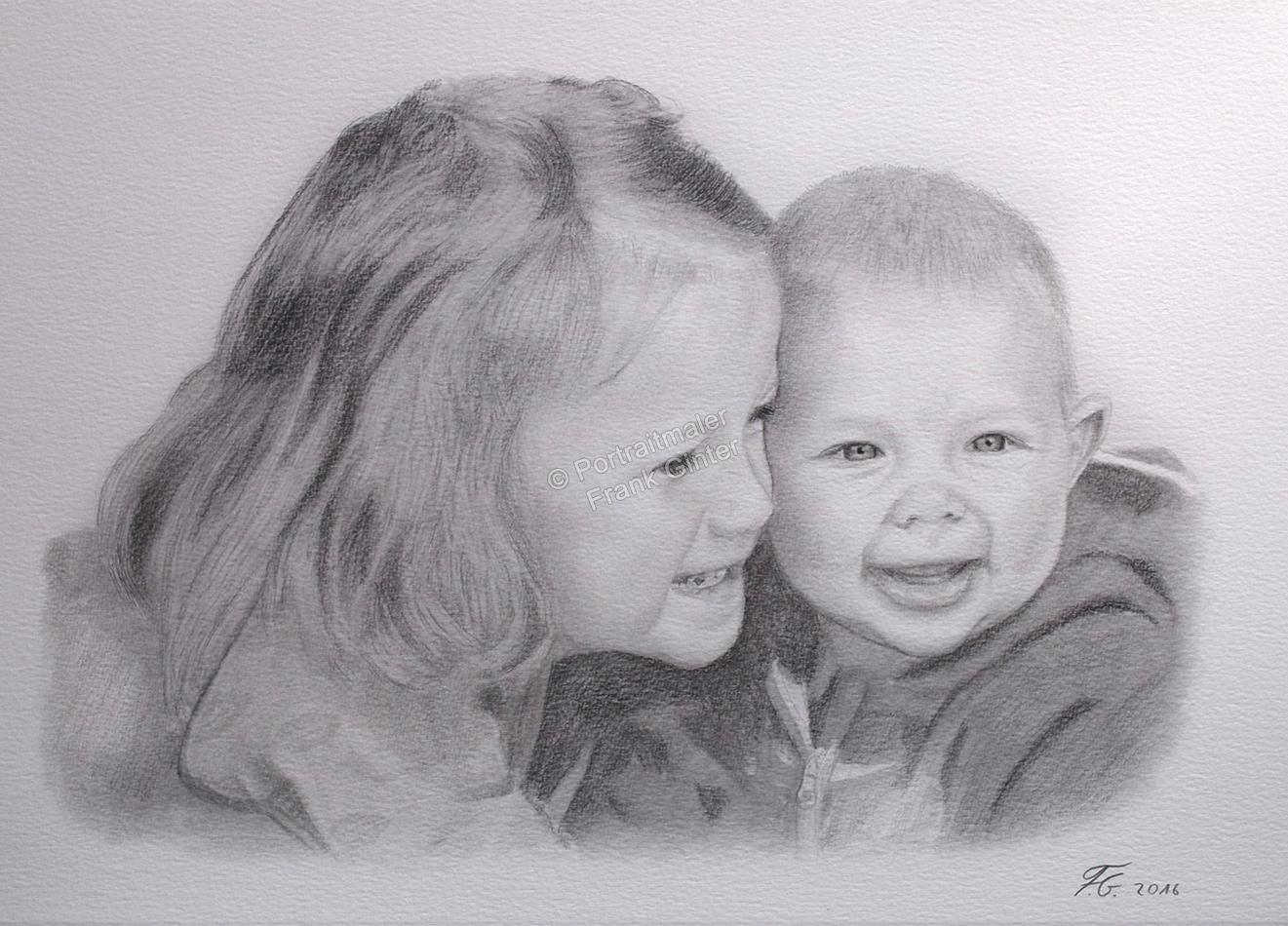 Bleistiftzeichnungen, Portraitzeichnung - Kinder, Baby, Bleistiftzeichnung, Kinder-Portraits Geschwister