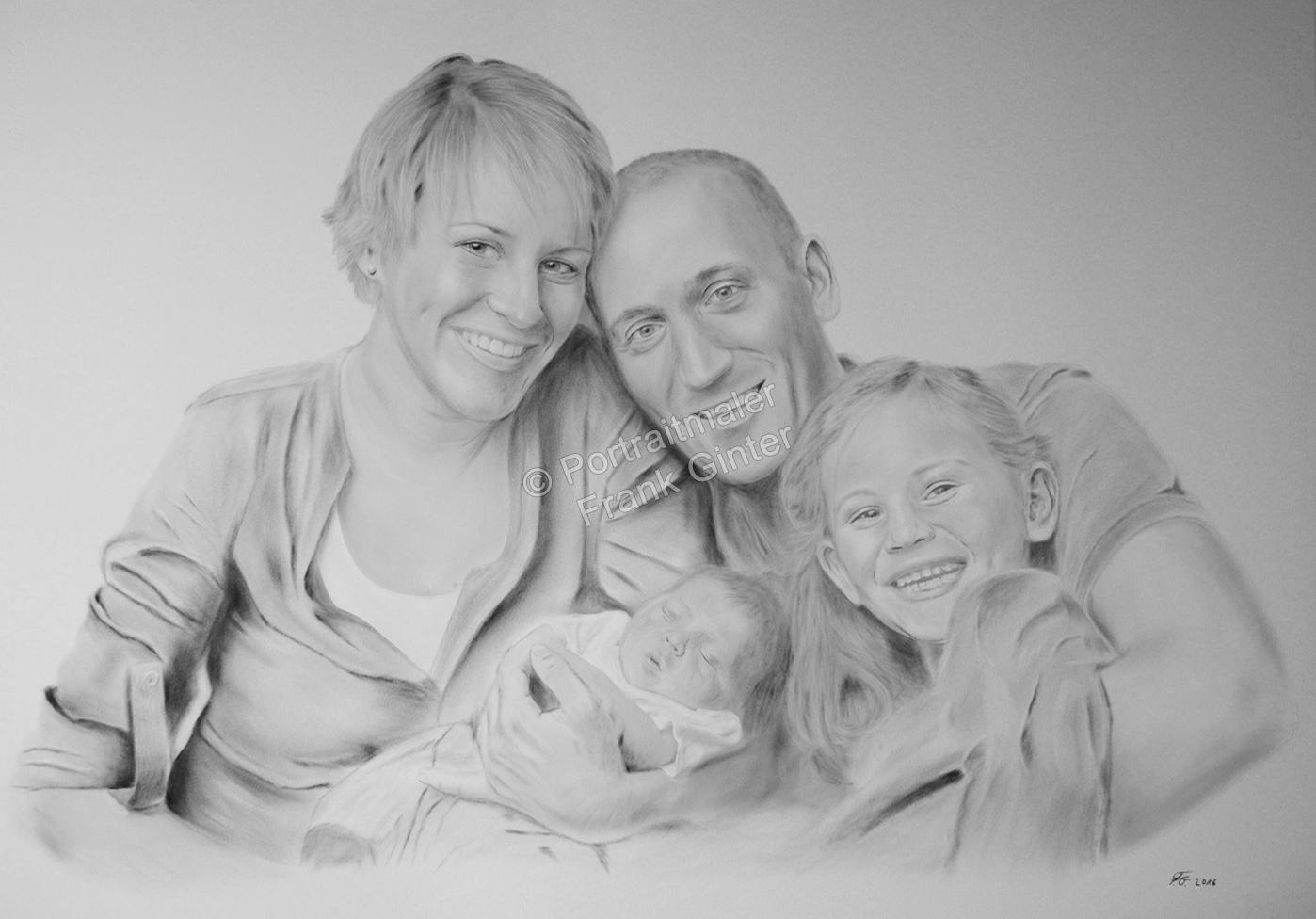 Ölgemaelde Dry-Brush Portraitgemälde Familienportrait gemalt