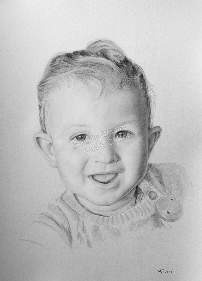 Bleistiftzeichnung eines Jungen, Portraitzeichnung, Kinder, Baby, Bleistiftzeichnungen Portrait, Portraitzeichner