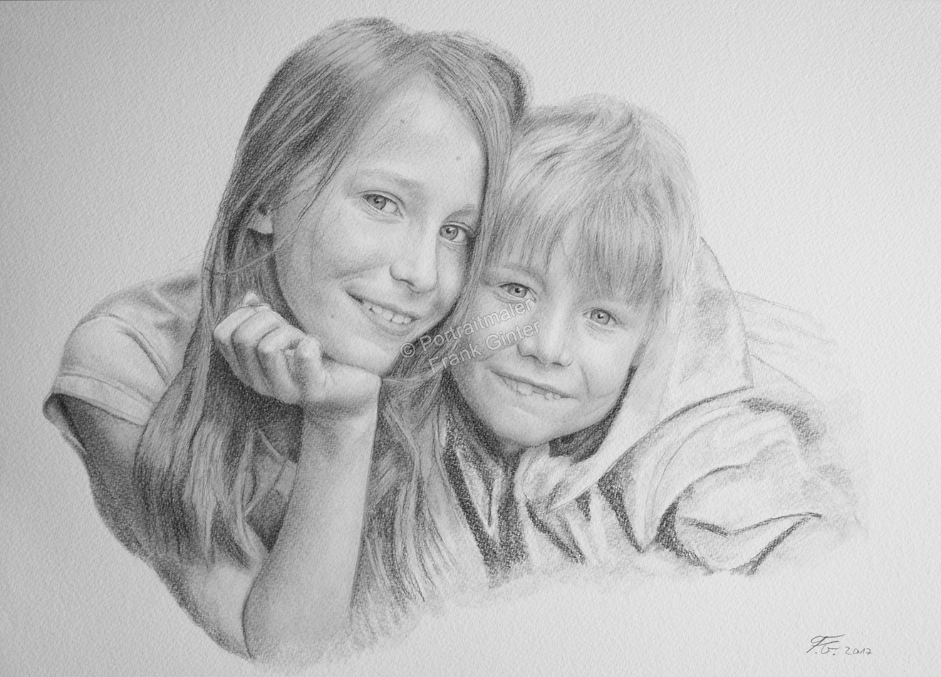 Bleistiftzeichnungen, Portraitzeichnung - Kinder, Bleistiftzeichnung, Kinder-Portraits Geschwister