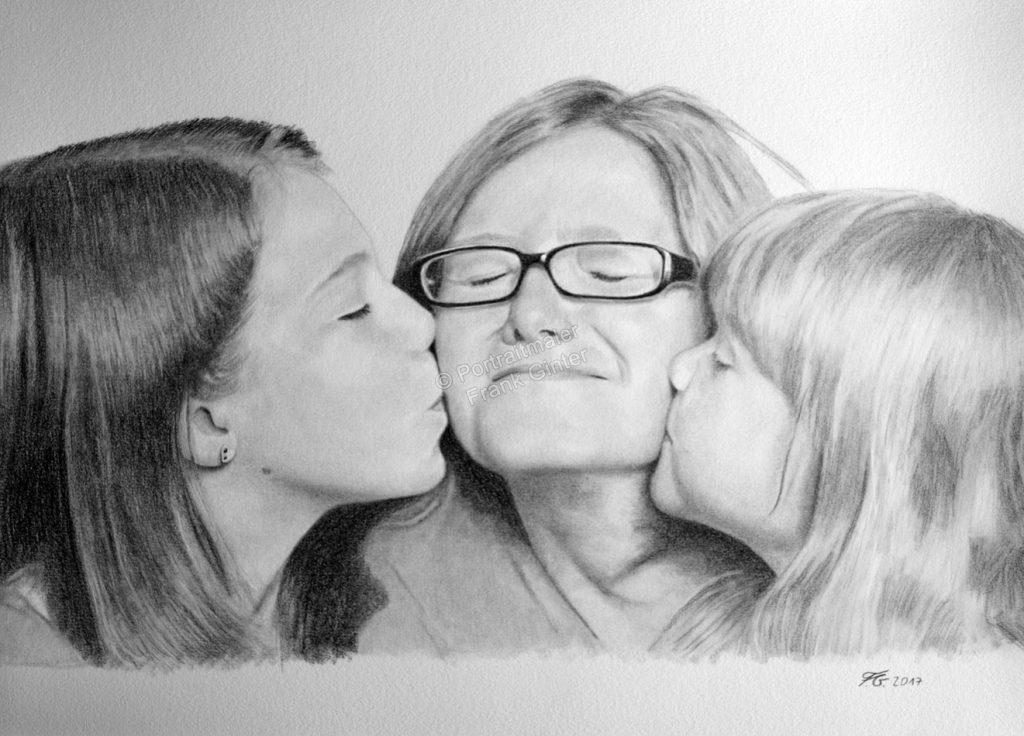 Bleistiftzeichnung einer Familie, Portraitzeichnung, Bleistiftzeichnungen Familienportrait, Portraitzeichner