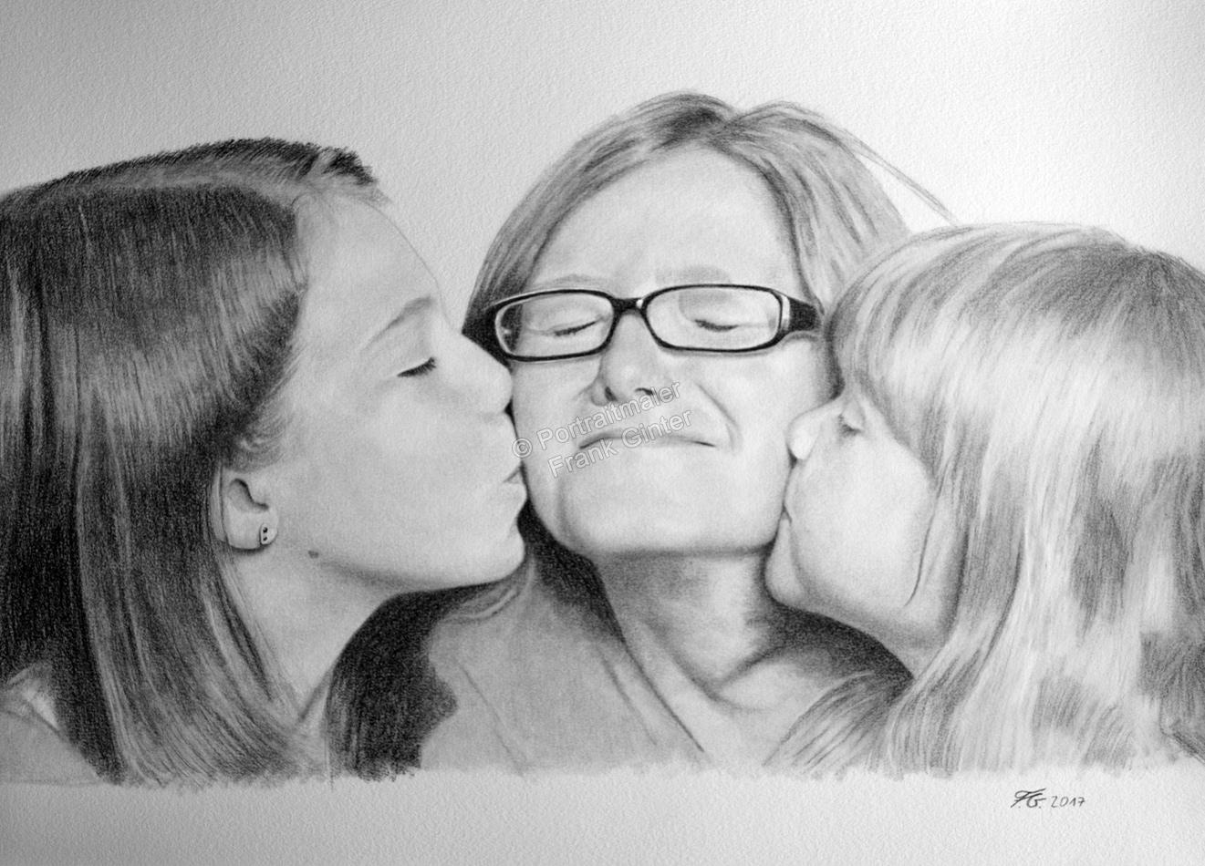 Bleistiftzeichnungen, Portraitzeichnungen, Kinder Portraits zeichnen lassen Geschwister-Portrait