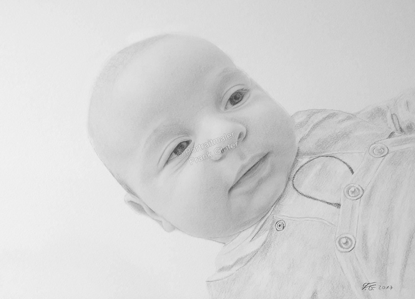 Bleistiftzeichnungen Portraitzeichnungen Baby, ein Baby-Portrait zeichnen lassen mit Bleistift