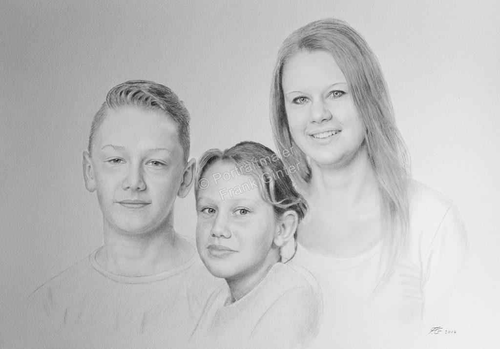 Bleistiftzeichnungen, Portraitzeichnung  Familie Geschwister, Portrait zeichnen lassen, Portrait vom Foto mit Bleistift, Familien-Bleistiftzeichnung
