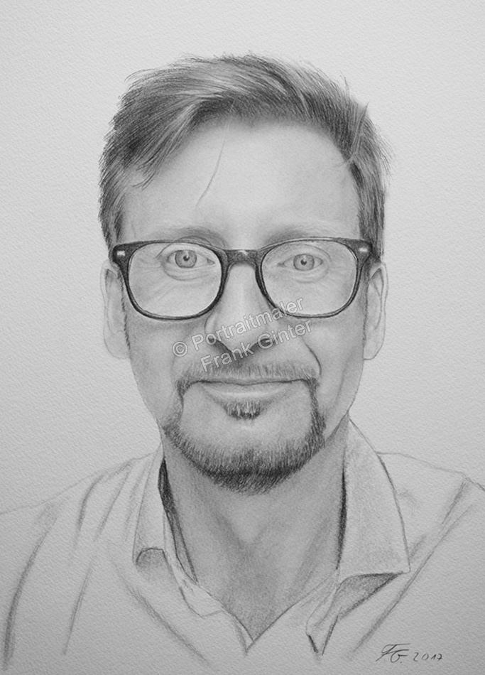 Bleistiftzeichnung Mann mit Brille, Portraitzeichnung, Bleistiftzeichnungen Portrait, Portraitzeichner