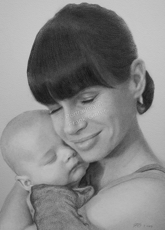 Bleistiftzeichnung, Portraitzeichnung - Mutter mit Ihrem Baby, Bleistiftzeichnungen, Baby-Portrait mit Mama