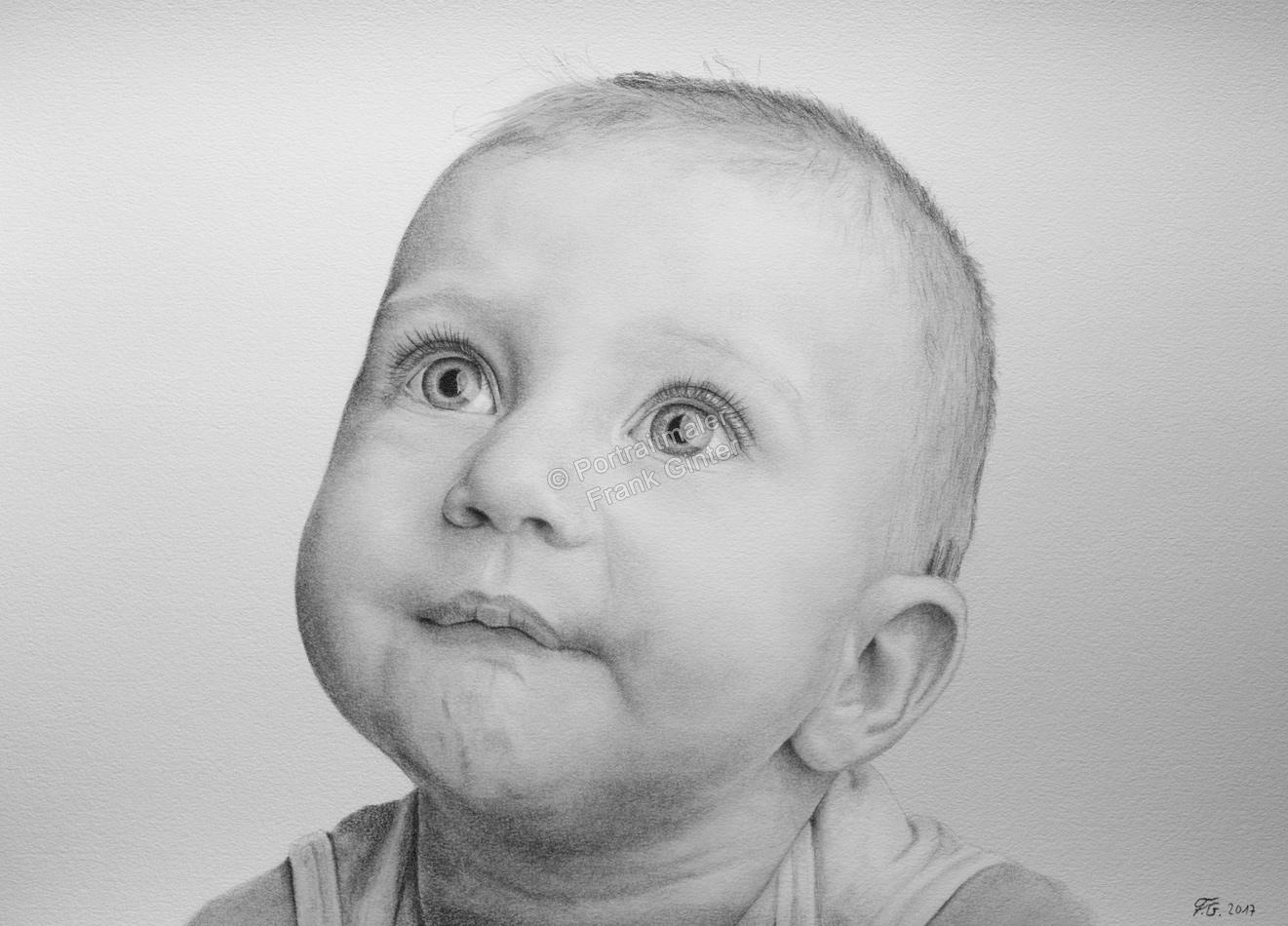 Bleistiftzeichnungen, Portraitzeichnung, Baby, Bleistiftzeichnung, Portraitzeichner