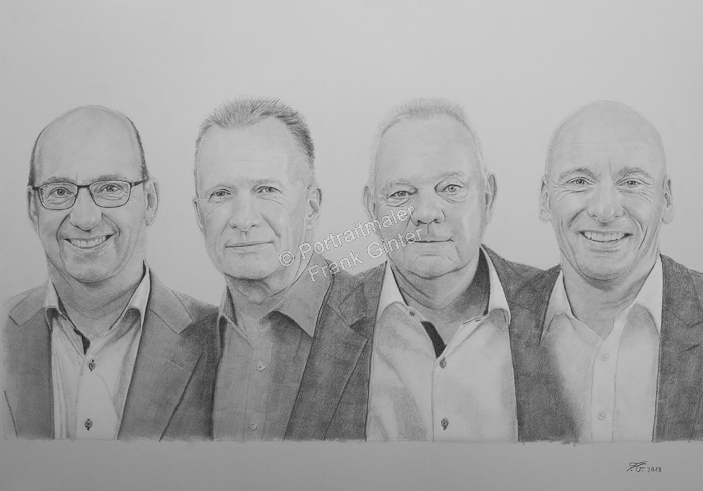 Kohlezeichnungen, Portraitzeichnung  Männergruppe, Portrait zeichnen lassen, Portrait vom Foto mit Kohle, Kohlezeichnung