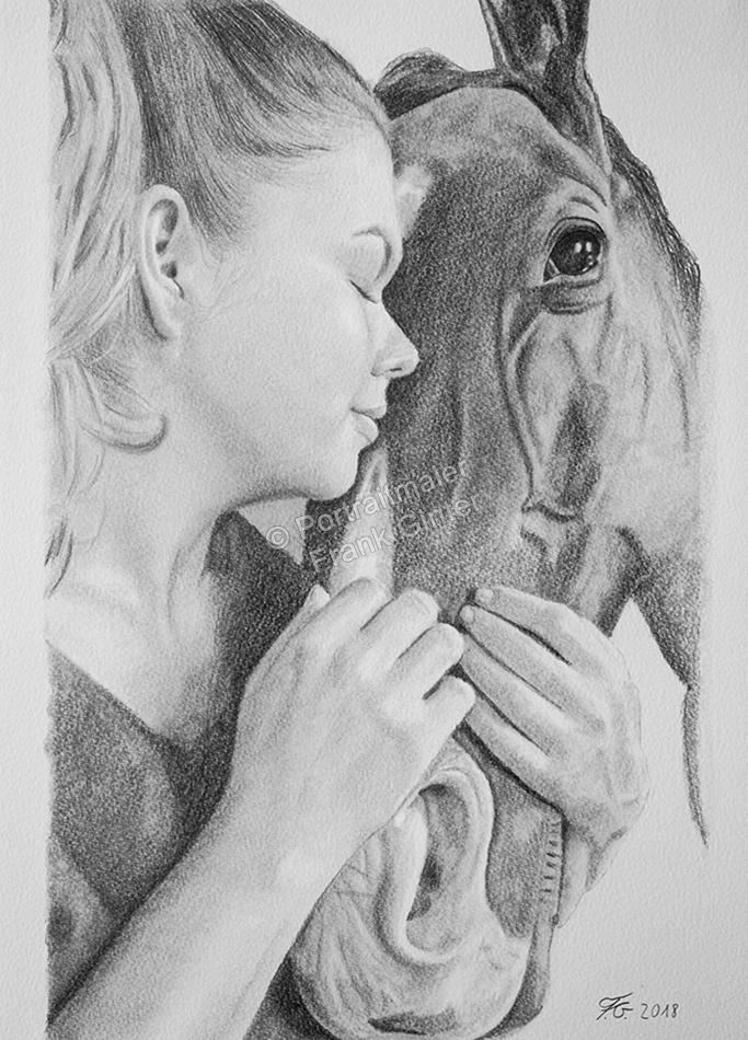 Pferdezeichnung, Bleistiftzeichnungen, Tierportraits, Pferdeportrait - Bleistiftzeichnung, Tierzeichnungen, Tierzeichner, Mädchen mit Pferd