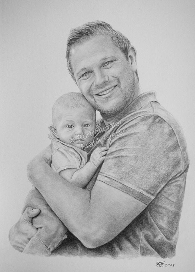 Bleistiftzeichnung Vater mit Baby, Portraitzeichnung, Bleistiftzeichnungen Portrait, Portraitzeichner