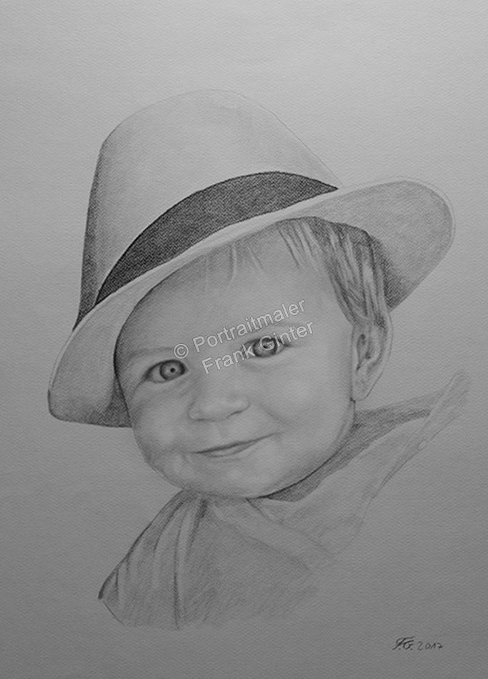 Bleistiftzeichnung, Portrait, Baby-Portraits zeichnen lassen, Portraitzeichnung